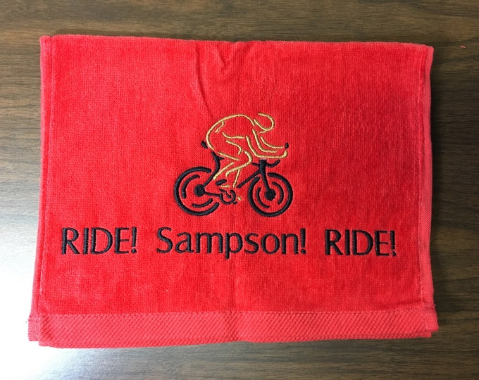 Bike, embroidered, personalized towel, monogrammed, cyciling, embroidered towel, personalized gift, cyciling towel