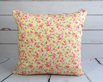 Shabby chic cushion cover, yellow pillow cover, polka dots, pink roses pillow cover, floral throw pillow, 16X16, reversible cushion cover