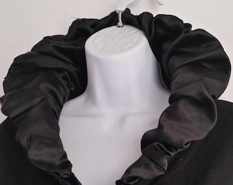 SZ S / M  Vintage COTTONADE COUTURE black , silk ruffle shawl collar, ruffle cuffs, cotton unusual sweater. Made in France