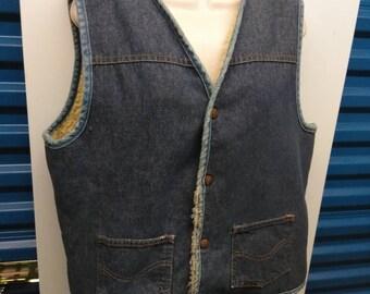 Vintage Sherpa lined denim vest mens small Sears Roebucks 1960s 1970s 19080s