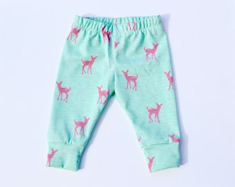 Cotton Knit Baby Girl Leggings, Fawn Silhouette on Mint Baby Cuff Leggings,Baby Pants, Baby Gift