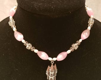 Pink Princess Castle Necklace
