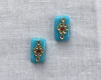 Blue Glass Buttons Beads,Indian Kundan Buttons Rajasthan Traditional Handmade Buttons Beads,Sewing Jewellery Flat Back Beads 2.5X1.5cm,2 pcs