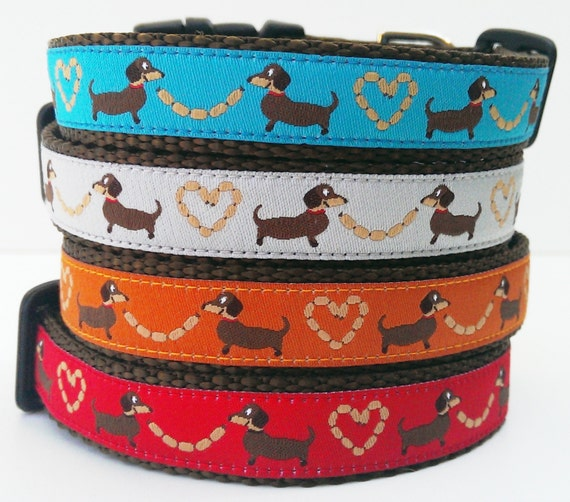 Longback Love, Dog Collar, Handmade, Pet Accessories, Adjustable, Collars, Dachshund, Pet Lover, Small Dog Collar, Doxie, Wiener Dog