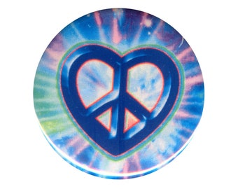 Peace Sign Heart on Tie Dye - Button / Pinback or Magnet