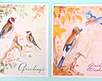 Vintage Birthday Cards 1940s / 1950s Birds - Pack of 2 Unused Greetings Cards