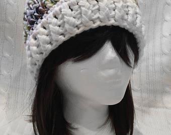 Snowy Camo Crochet Winter Hat