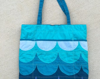 Ocean Waves Blue Turquoise Aqua Quilted Kona Cotton Tote Bag