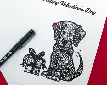 Valentine's Day, Valentine's Day Card, Valentine's Card, Greetings card, Dog, Dog card, Boyfriend card, Girlfriend card.