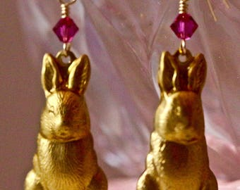 Bunny Hutch Collectibles: Golden Bunnies with Fuchsia Crystals