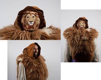 Larp large leather hood brown lion embroidery barbarian warcraft cosplay Game of Thrones serengeti hunter costume fur ranger shaman armor