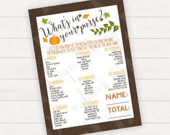 Baby Shower Fall Baby Fall In Whats in Purse Game Printable Baby Shower Games Rustic Baby Autumn Baby Printable Game Instant Download