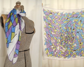 Vintage 1950s Scarf / 50s Large Square Scarf / Rayon Hair Scarf in Abstract Purple Green