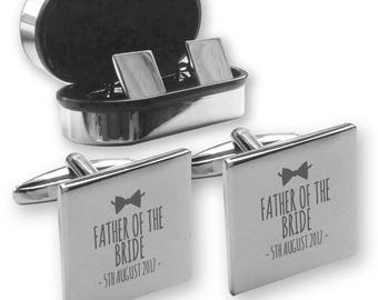 Personalised engraved FATHER of the BRIDE wedding cufflinks, in a chrome coloured presentation box, bow tie - BW1