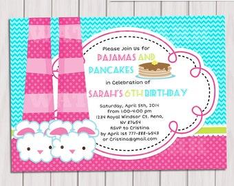 PANCAKES and PAJAMAS PARTY Invitation, Pajamas party Birthday invitation, Slumber Party Invitation, Sleepover Invitation, Printable Diy Pdf