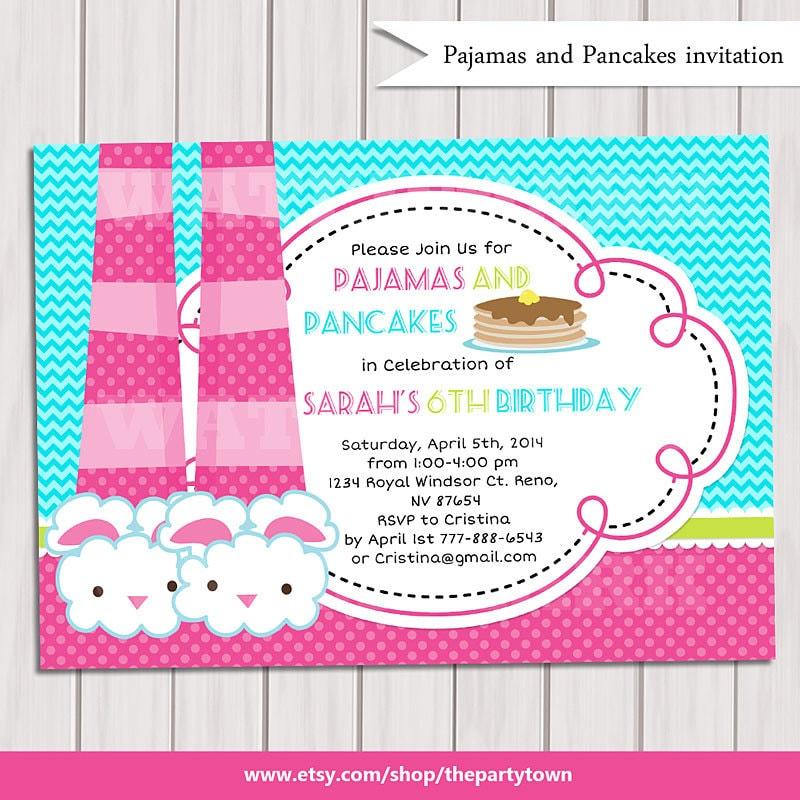 Pancakes and pajamas party invitation pajamas party birthday zoom filmwisefo