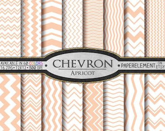 Apricot Chevron Digital Paper Pack - Instant Download - Digital Scrapbook Paper with Chevron Stripe