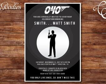 James Bond Casino Royale Movie Theme Birthday Invitation