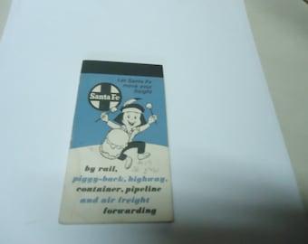 Vintage Sante Fe Railway Note or Sketch Pad, collectable, book, advertising