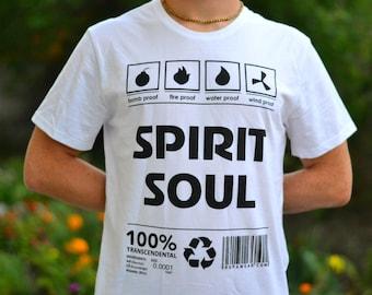 "T-shirt ""Spirit Soul"" (absolute truth, bhakti yoga, Prabhupada, guru, God, Krishna, karma, swami, freedom, eternal life, gita), 100% cotton"