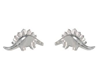 Super Cute Polished Little  Stegosaurus Dinosaur Stud Earrings in Sterling Silver