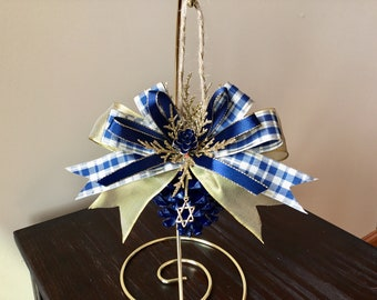 Hanukkah ornament, Chanukah ornament, Star of David, Blue Pinecone Ornament, Hanukkah decor, menorah ornament, judaica, interfaith ornaments