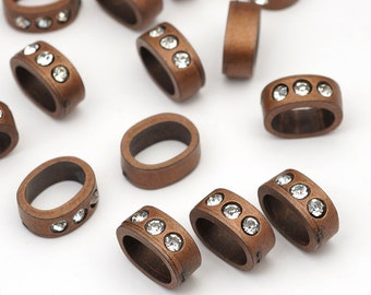 15 pcs Regaliz licorice leather copper rhinestone slider findings for leather cord, closeout, 14mm