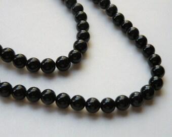 Riverstone beads in jet black round gemstone 6mm full strand 9440GS
