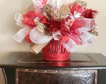 Ready to Ship Love  Centerpiece , Decomesh Red and White Arrangement  , Valentine's Day Gift
