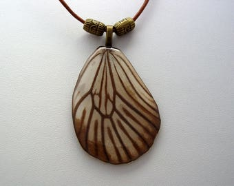 Real Butterfly Wings Paper Tree Nymph Idea Hindwing Real Butterfly Wing Necklace (A14)