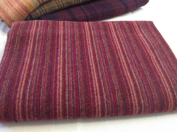 Rich Red Stripe,  Wool Fabric for Rug Hooking and Appliqué, 1 yard, 1/2 Yard or 1/4 Yard, W152, Ruby Red, Deep Red, Mill Dyed Wool Fabric