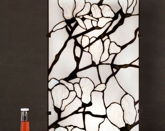 Stained Glass Panel, Magnolia Stained Glass, Wall Sconce, Wall Lamp, Wall Lanterns, Wall Lamp Plug In, Wall Lamp With Cord, Light Panel,