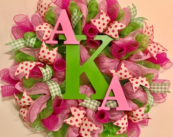 Personalized monogrammed pink/green wreath