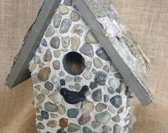 Stone and birch birdhouse. Easy bottom clean out.