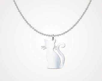 Kitty cat pendant - .925 Sterling Silver Necklace