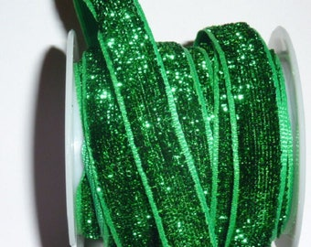 Ribbon sparkling glittered bright green 10 mm wide 2 m 50 long to create, invent, blow your imagination