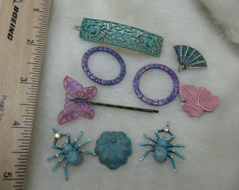 Filigree Findings and More Painted Findings for Jewelry Crafts Embellishments Patina Greens Pink and Purple Butterflies Spiders Leaves