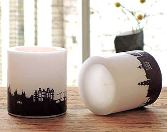 2 Candles AMSTERDAM Skyline plum, Lampion AMSTERDAM print, Amsterdam Office Home Decor, housewarming party hostess gift Amsterdam fans