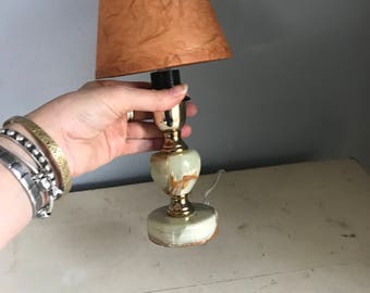 Vintage adorable tiny lamp, marble, with tiny shade, gorgeous little bohemian find