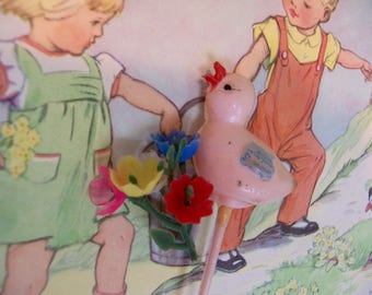 wee tiny bouquet and pink bird