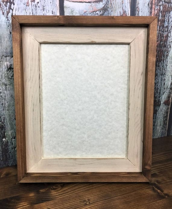 10 x 13 Rustic Picture Frame Cream Rustic Weathered Stacked