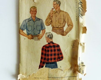 McCall's 5863 Vintage Sewing Pattern Men's Shirt 1944