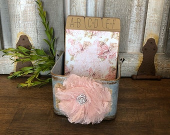 Address Box, Wedding Guest Book, Guest Book Alternative, Address Cards, Shabby Chic, Vintage, Floral, Lace, Pink Foil