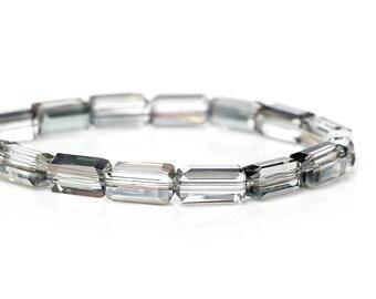 Lot 10 rectangular glass beads multicolor 8x4mm-69960-design - jewelry