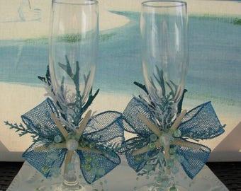 Starfish Beach Wedding Toasting Glasses~~