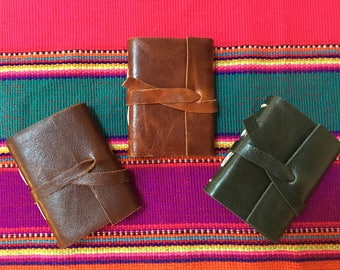 Mini Gratitude Journal Mini Handbound Leather Journal Pocket Sized, 2.25 x 3 Inches, 48 Blank Pages, Unlined Journal