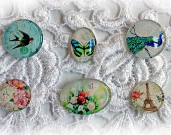 Reneabouquets Glass Dome Cabochon Trinkets 6  Pack~Scrapbook Embellishment, Craft Supply, Jewelry Charm