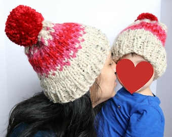 Chunky Knit Fair Isle Mommy + Me Set with Pom, slouchy knit mommy and me hat set, floating hearts mommy and me hat set, mother's day gift