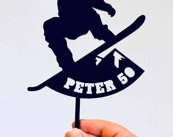 Acrylic Cake Topper - Snowboarder (ARC1801 MADE IN Australia)