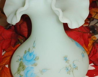 """REDUCED ** Vintage Fenton Glass """"Blue Roses on Blue Satin"""" 7"""" Vase"""